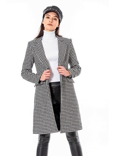 Coral  Woolcheck Long Jacket - Siyah